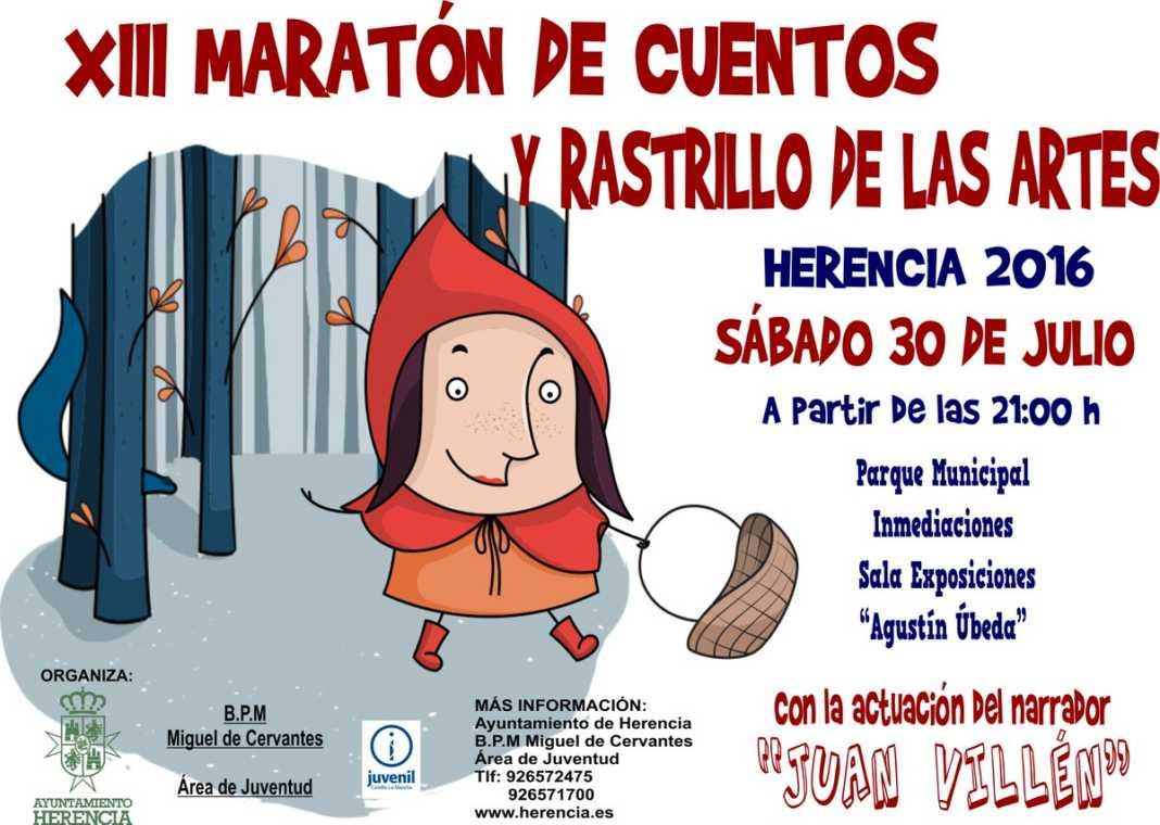 XIII maraton de cuentos y rastrillo de las artes 2016 1068x760 - Juan Villén amenizará con sus historias el XIII Maratón de Cuentos y Rastrillo de las Artes