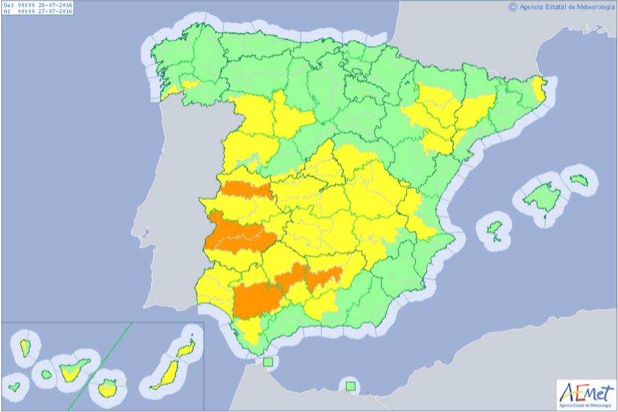 alerta amarilla altas temperaturas peninsula 26 julio 2016 - Alerta amarilla por calor en Herencia y la región