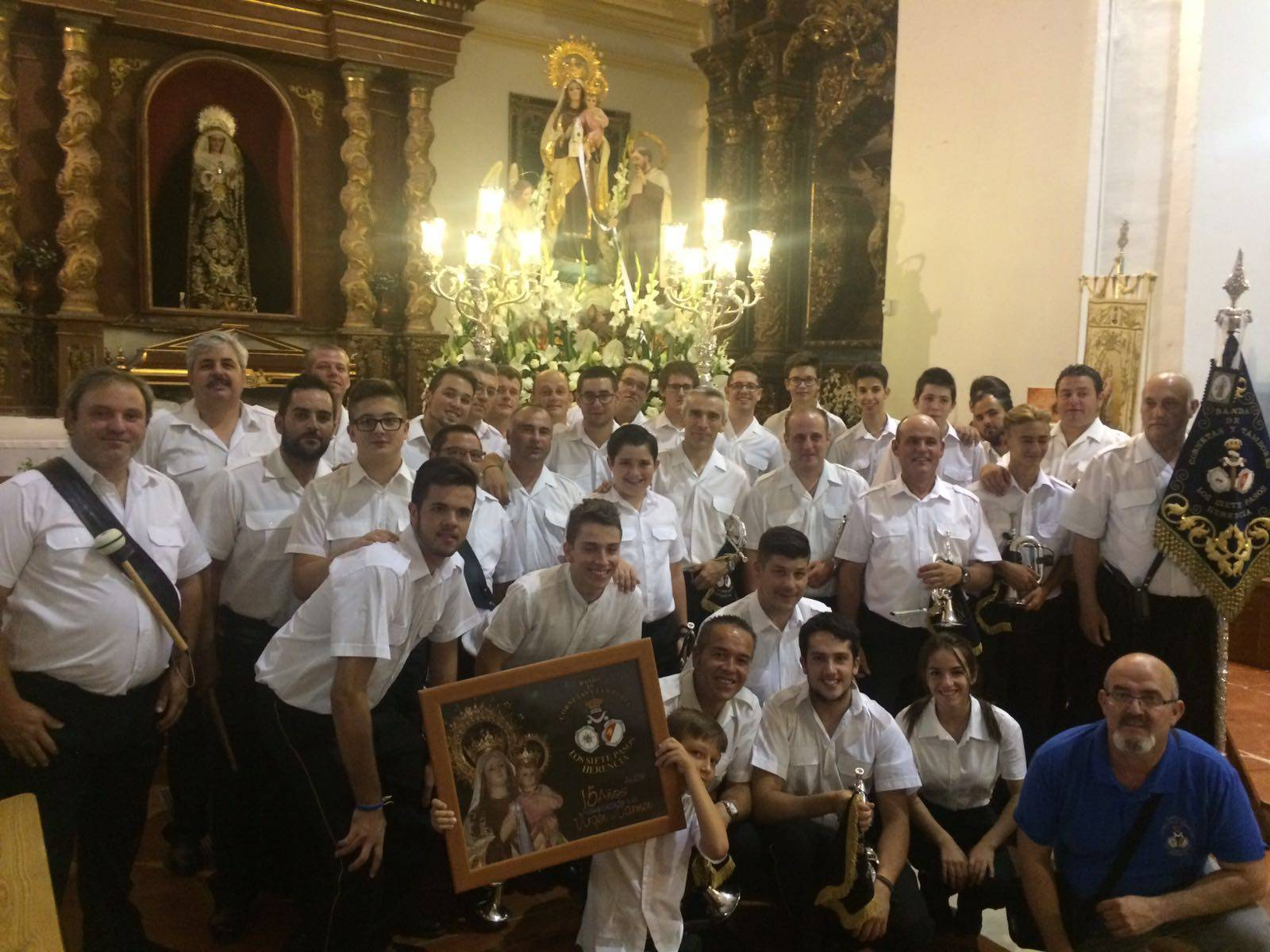 Banda de los Siete Pasos en la celebración del día de la Virgen del Carmen. Fotos twitter @bandasietepasos