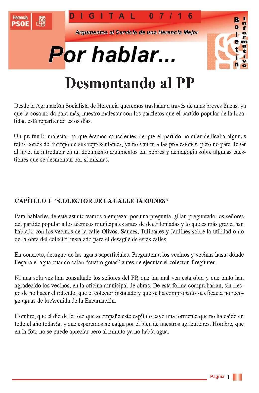 boletin informatico psoe herencia desmontando al pp 1 - PSOE responde al boletín del PP con otro boletín
