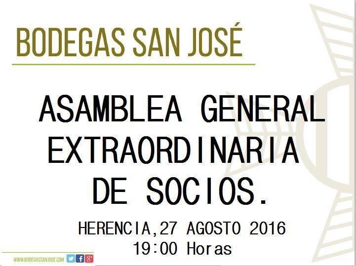 Asamblea general extraordinaria de socios de la cooperativa san jose de Herencia - La cooperativa San José celebrará una asamblea general extraordinaria