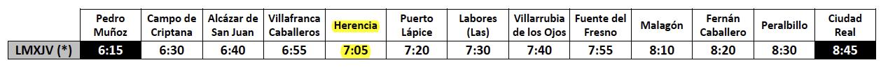 Horario de Autobuses Herencia Ciudad Real a partir del 11 de agosto de 2016 - Horarios de autobuses en Herencia