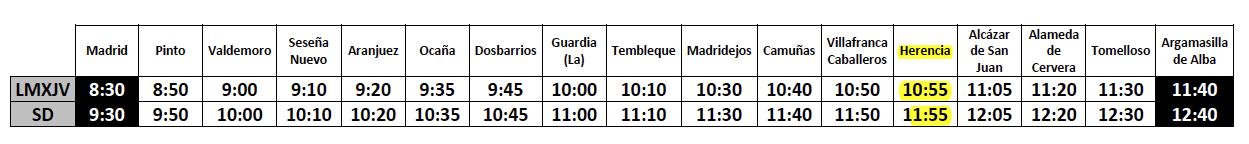 Horario de Autobuses Madrid-Herencia a partir del 11 de agosto de 2016