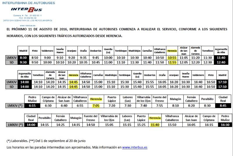 Nuevos horarios de Autobuses entre Herencia, Madrid y Ciudad Real