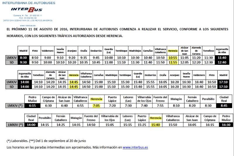 Nuevos horarios de Autobuses entre Herencia Madrid y Ciudad Real - Nuevo horario y servicio de autobuses entre Herencia, Madrid y Ciudad Real