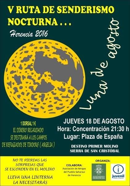 """V Ruta de senderismo nocturna Herencia - Ruta de Senderismo Nocturna """"Luna de Agosto"""""""