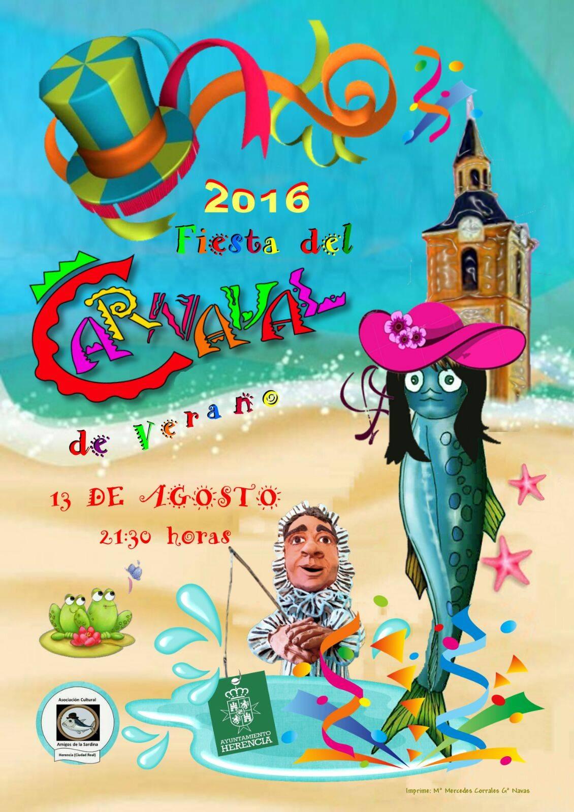 Cartel de Carnaval de Verano 2016 en Herencia de la Asociación Amigos de la Sardina.