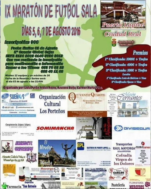 cartel de Maraton futbol sala de puerto lapice - El SinFin ganó la Maratón de Fútbol Sala de Puerto Lápice 2016