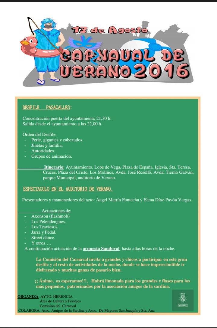 cartel de carnaval de verano - Programa de la Fiesta del Carnaval de Verano 2016