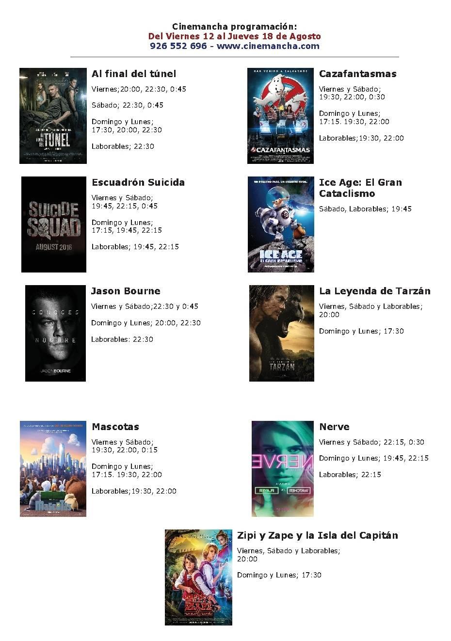 Cartelera Cinemancha del 12 al 18 de agosto 1