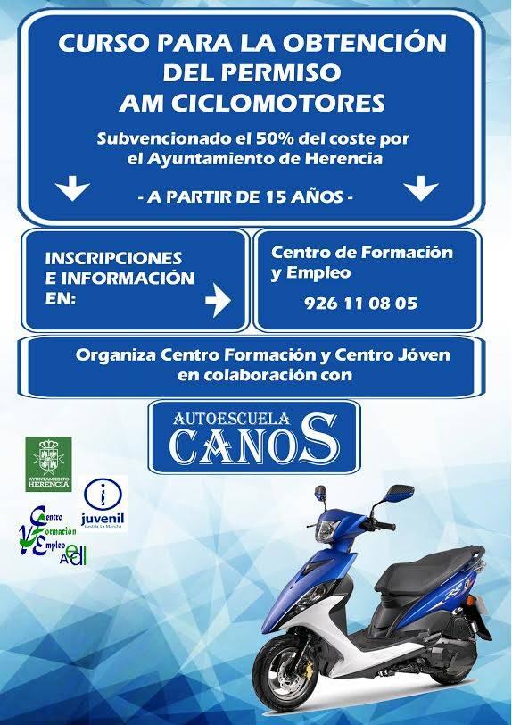 Curso para la obtención del permiso AM de ciclomotores en Herencia