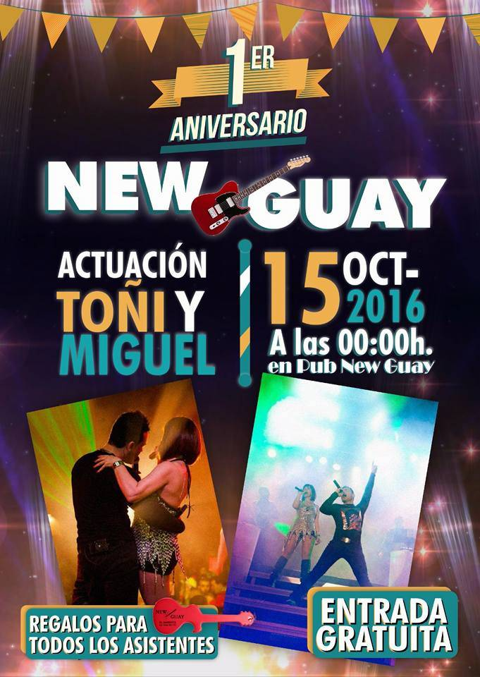 Concierto aniversario New Guay Herencia - Toñi y Miguel darán un concierto en la sala New-Guay