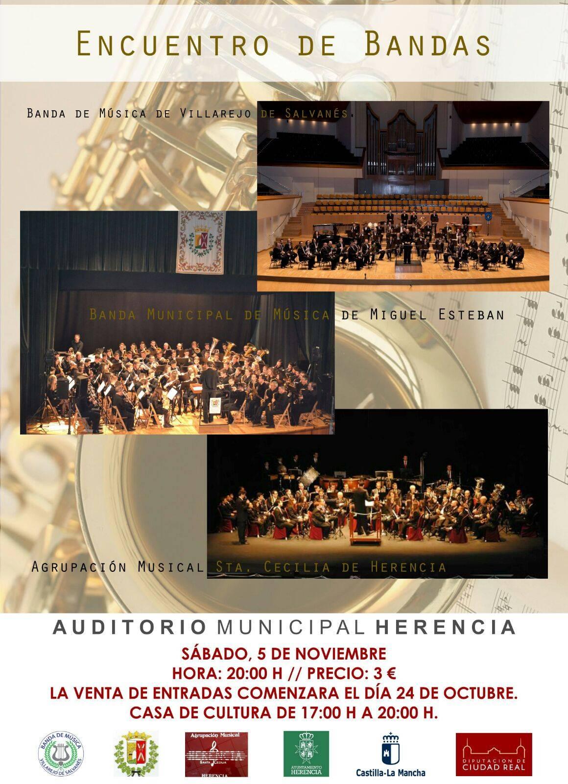 Encuentro de bandas en auditorio municipal de Herencia - Encuentro de Bandas de Música en Herencia el 5 de noviembre