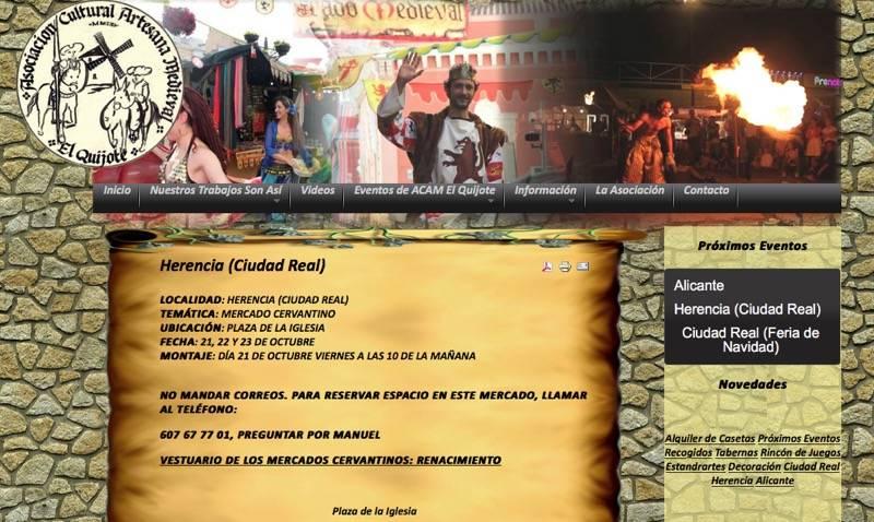 Mercadillo cervantino en Herencia organziado por ACAM El Quijote - Herencia contará con un mercado cervantino del 21 al 23 de octubre