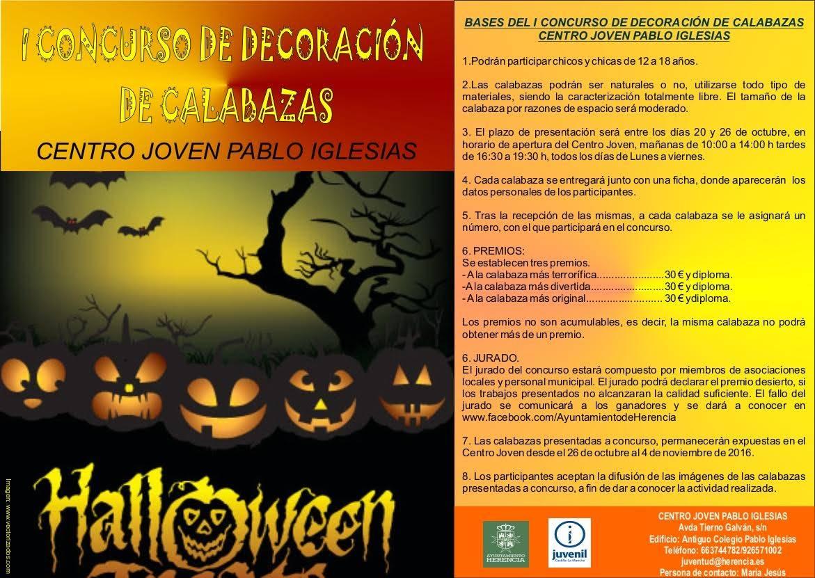 Primer concurso de decoracion de calabazas de Herencia - Juventud organiza un concurso de decoración de calabazas