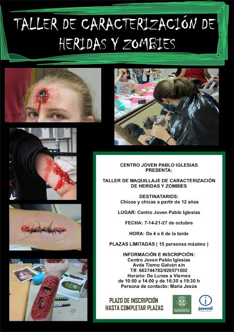 Juventud organiza un taller de caracterización de heridas y zombies 1