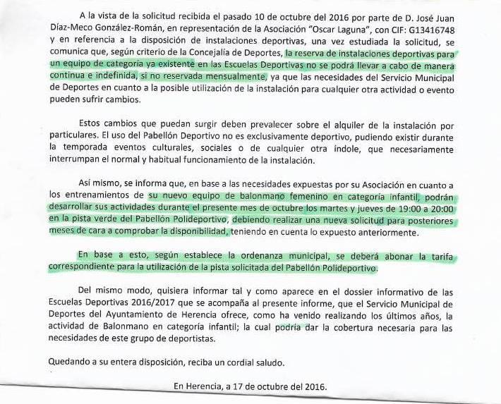 carta respuesta smd herencia club quijotes handball - Carta sobre el apoyo local a la práctica del deporte y sus problemas