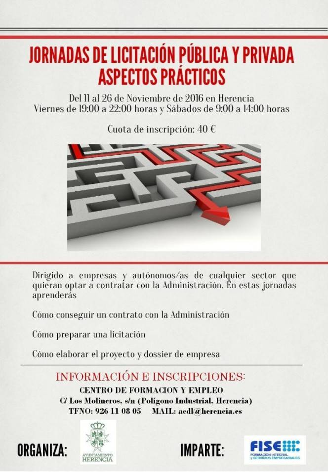 cartel jornadas de licitacion publica y privada  - Curso sobre licitación pública y privada, dirigida a empresas y autónomos