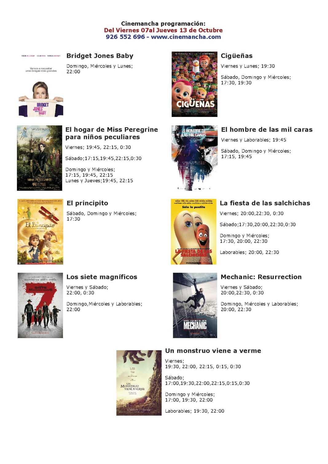 Cartelera Cinemancha del viernes 7 al jueves 13 de octubre 1