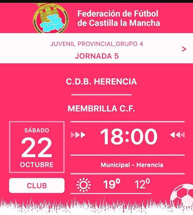 Partido fútbol juvenil 22 de octubre: C.D.B. Herencia - Membrilla C.F. 1