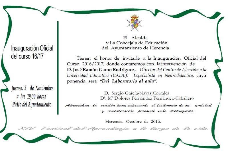 invitacion inauguracion universidad popular herencia - Invitación a la inauguración de la Universidad Popular el 3 de noviembre