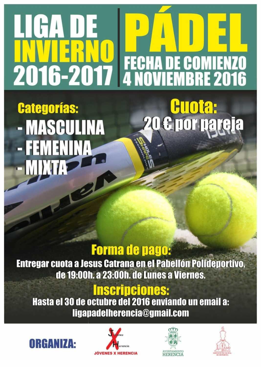 liga de padel de inverno en herencia 2016 2017 1068x1503 - Liga de Pádel de Invierno 2016-2017 en Herencia