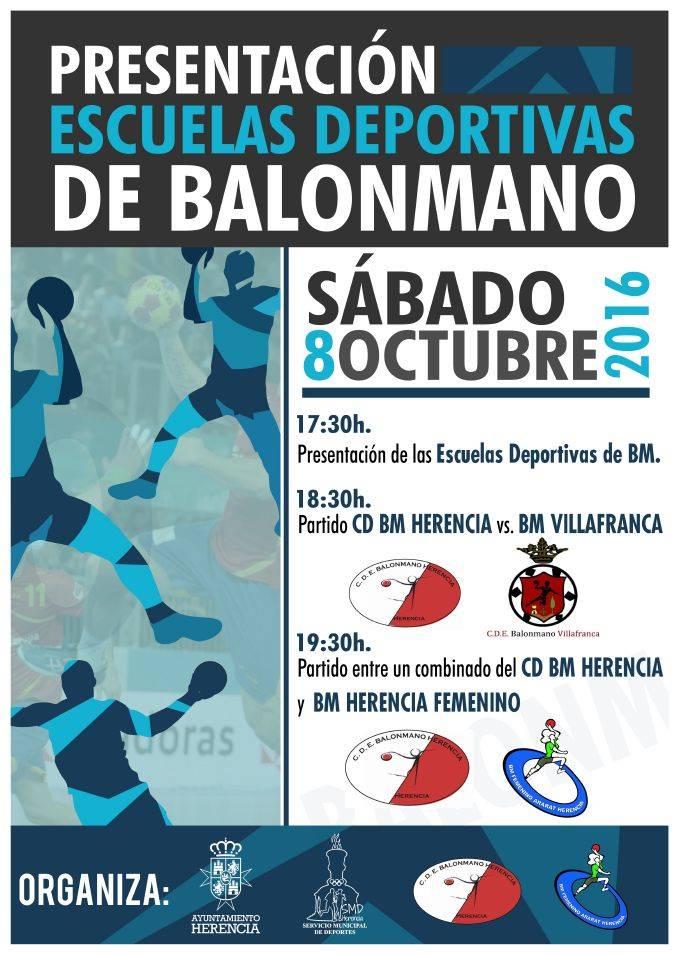presentacion escuelas deportivas de balonmano - Herencia inicia curso 2016/2017 de sus Escuelas Deportivas Municipales