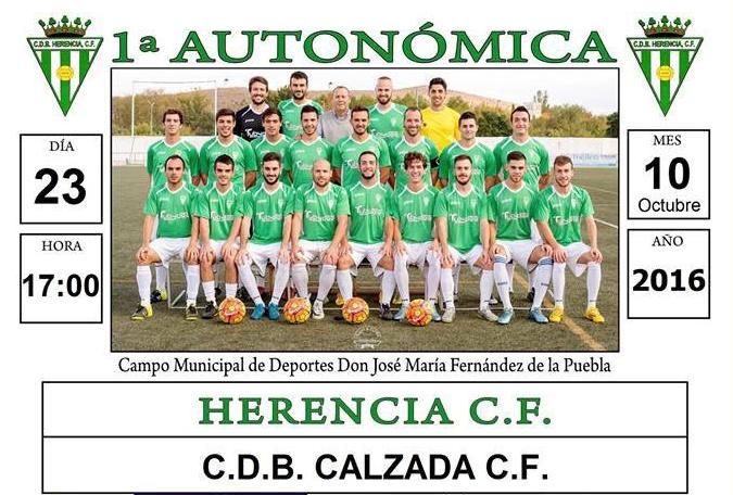 Partido de fútbol entre Herencia CF - CDB Calzada CF el 23 de octubre 1