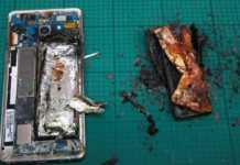 Móvil Samsung Galaxy Note 7 explosivo incendiado.