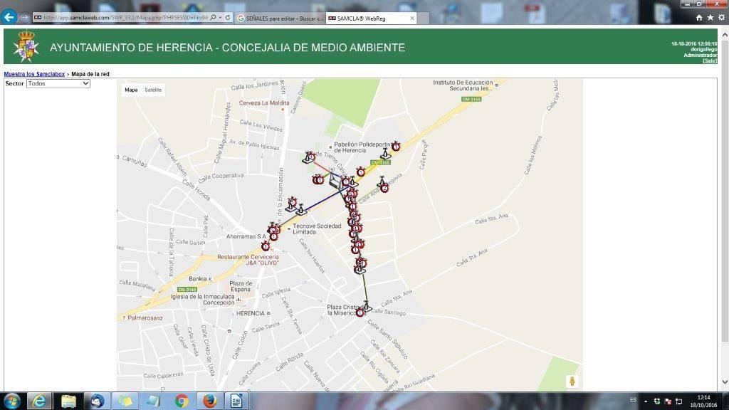 Sistema inteligente para la gestión del riego en varias zonas verdes de Herencia