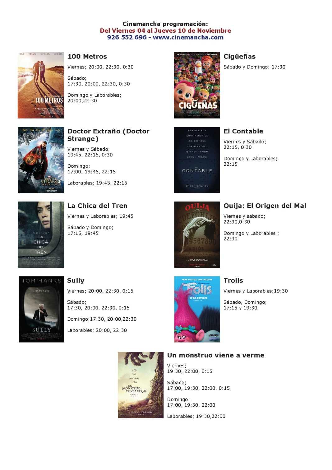 Cartelera Cinemancha del 04 al 10 de noviembre 1