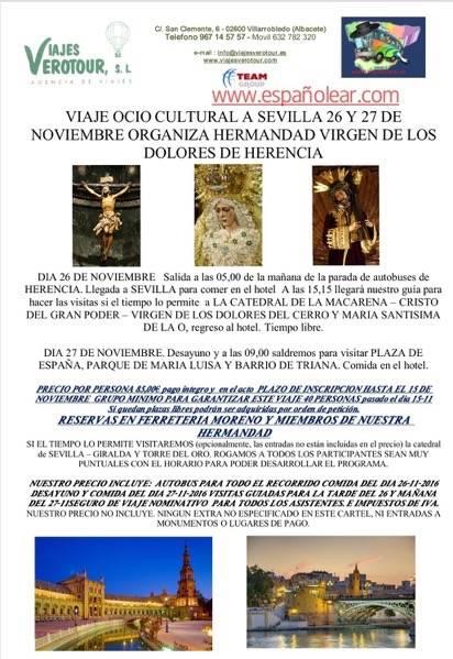Viaje cultural a Sevilla de la Hermandad de la Virgen de los Dolores de Herencia