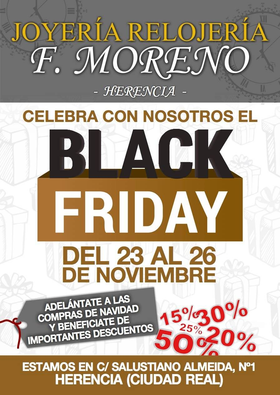 Joyería - Relojería F. Moreno celebra el Black Friday en Herencia 1