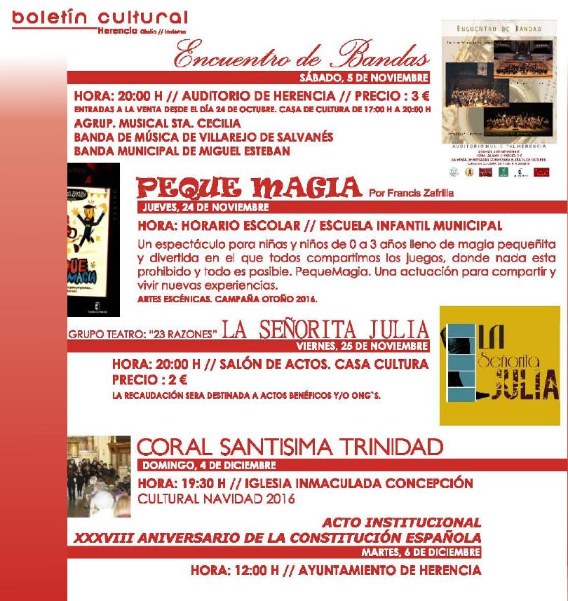 boletin cultura herencia 2 - Actividades de entretenimiento y ocio Cultural de Herencia