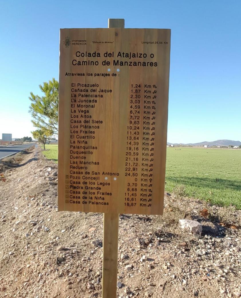"""camino colada del atajaizo en herencia - """"Conoce tu término"""" con la nueva señalización de caminos municipales"""