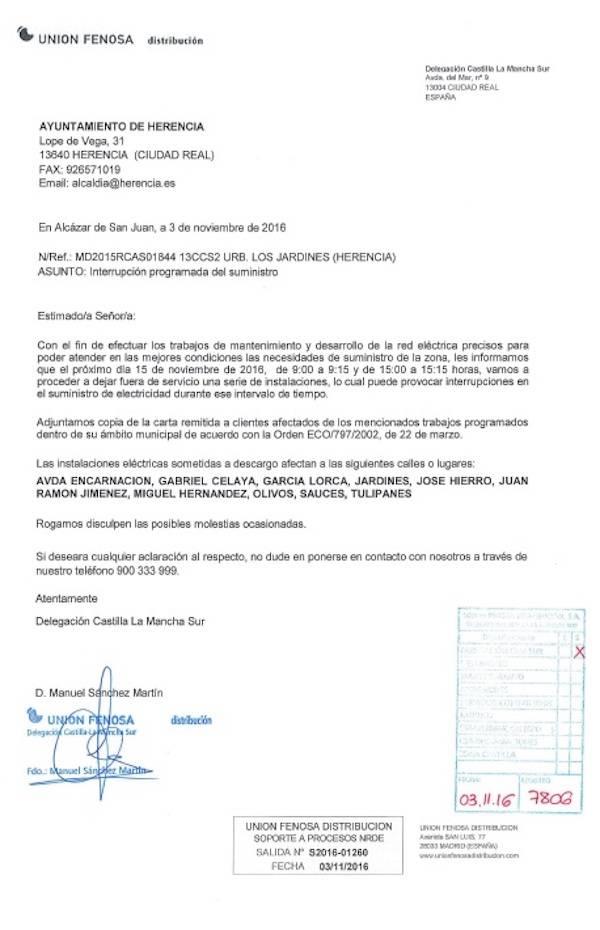carta de aviso interrupcion servicio electrico herencia - Interrupción del suministro eléctrico en zona Urbanización Los Jardines