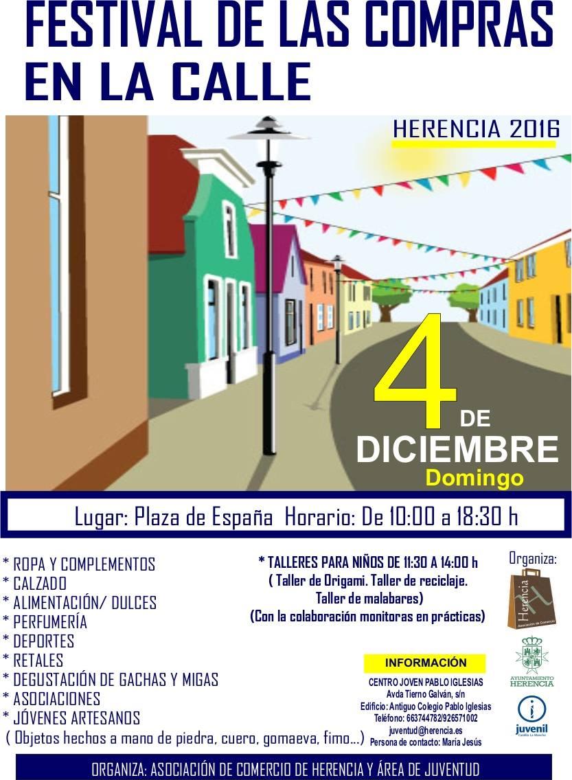 cartel de festival de compras en la calle en herencia - Festival de las compras en la calle en Herencia