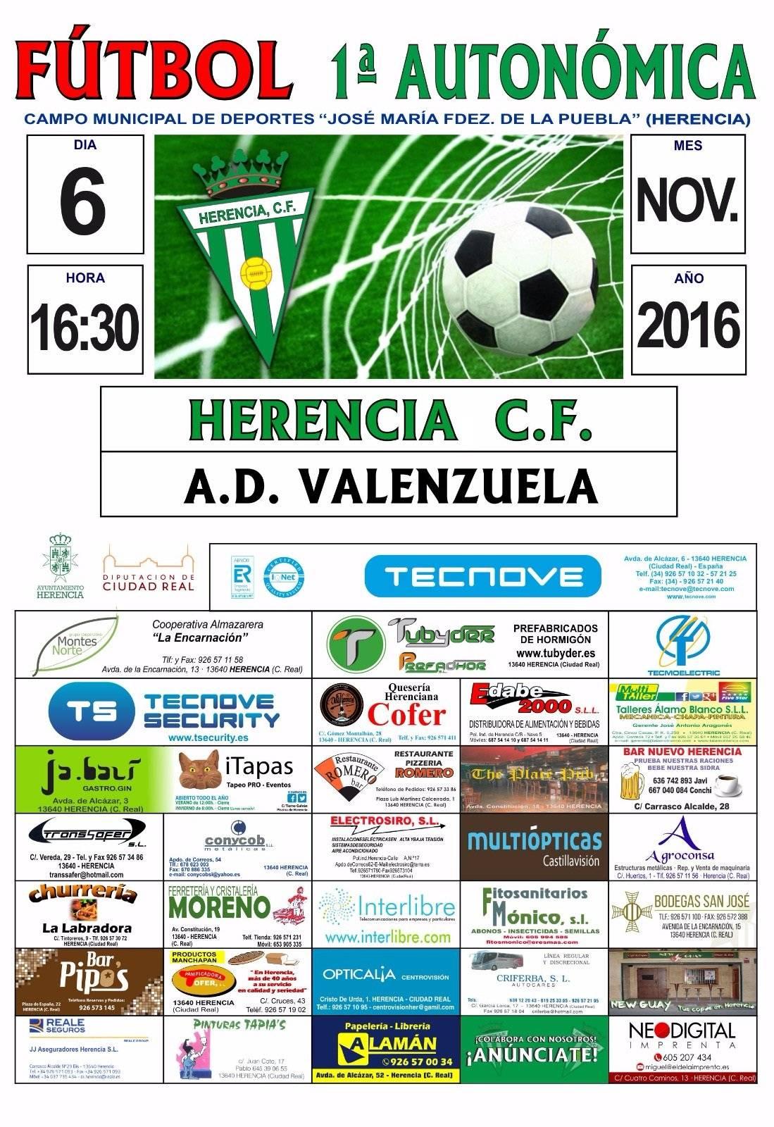 cartel partido herencia futbol ad valenzuela - Partido de fútbol entre Herencia CF – A.D. Valenzuela el 6 de noviembre