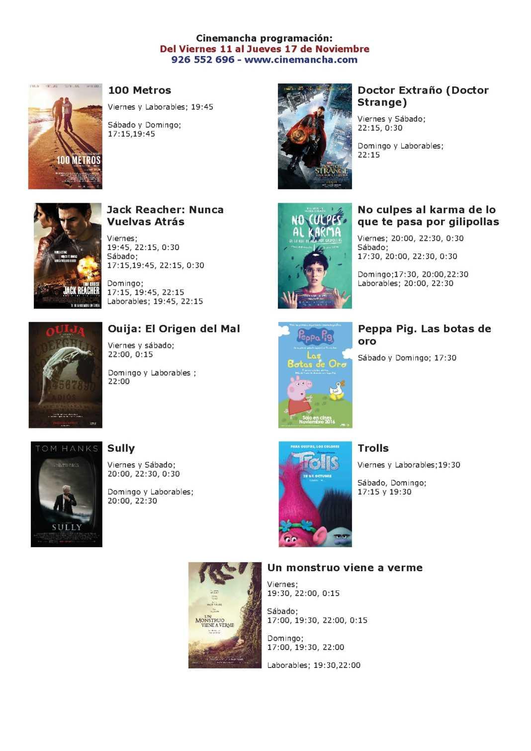 Cartelera Cinemancha del 11 al 17 de noviembre 1