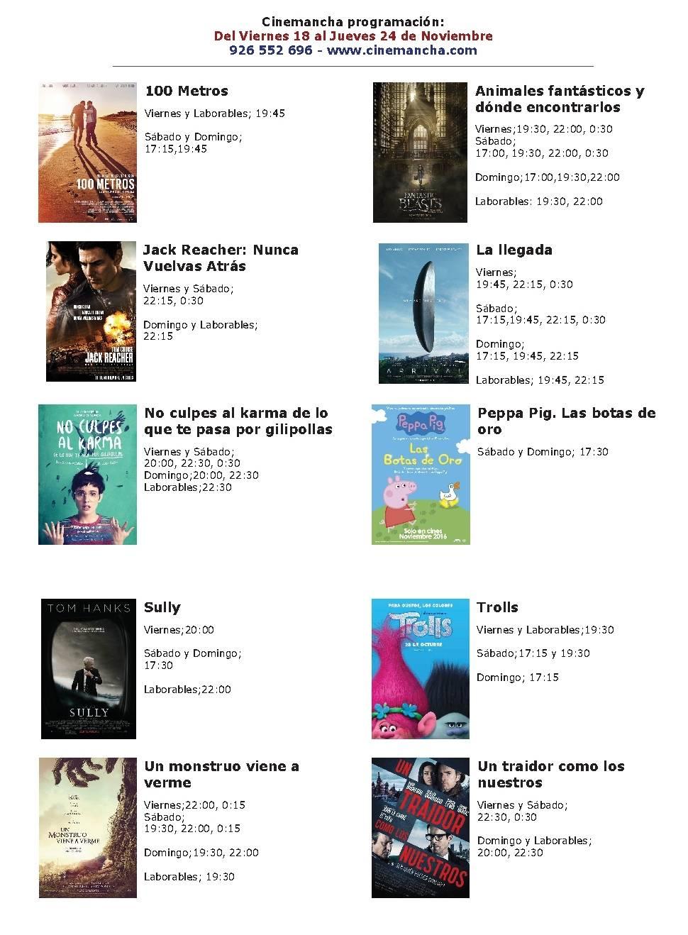 Cartelera Cinemancha del 18 al 24 de noviembre 1