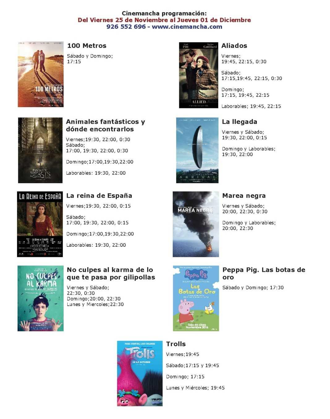 cartelera de cinemancha del 25 11 al 01 12 1068x1357 - Cartelera de Cinemancha del viernes 25 al jueves 1.