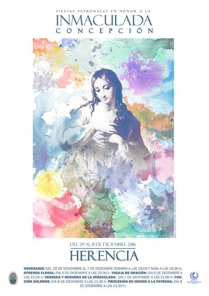 fiestas patronales de Herencia 2016 en honor a la Inmaculada Concepcion - Programa de actos religiosos y festivos en honor a la Inmaculada Concepción