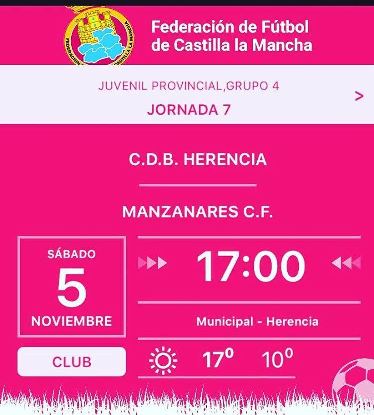 Partido fútbol juvenil 5 de noviembre: C.D.B. Herencia - Manzanares C.F. 1