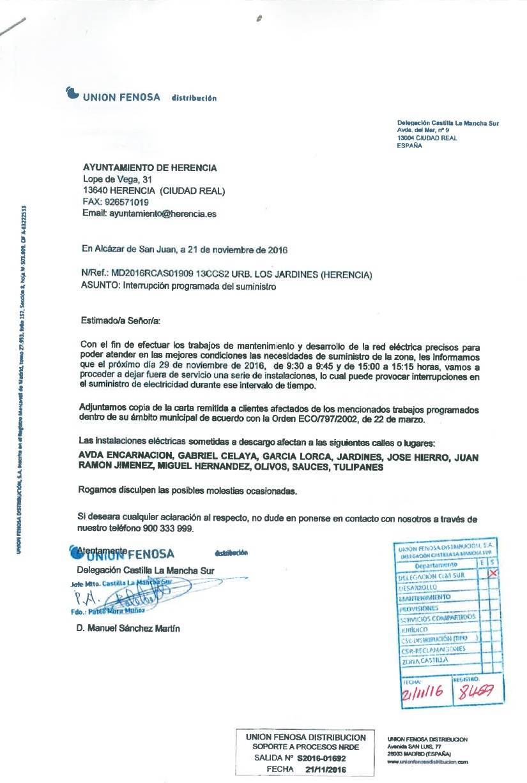 nuevos cortes de luz de union fenosa en herencia - Nuevos cortes de luz programados por Unión Fenosa en Herencia
