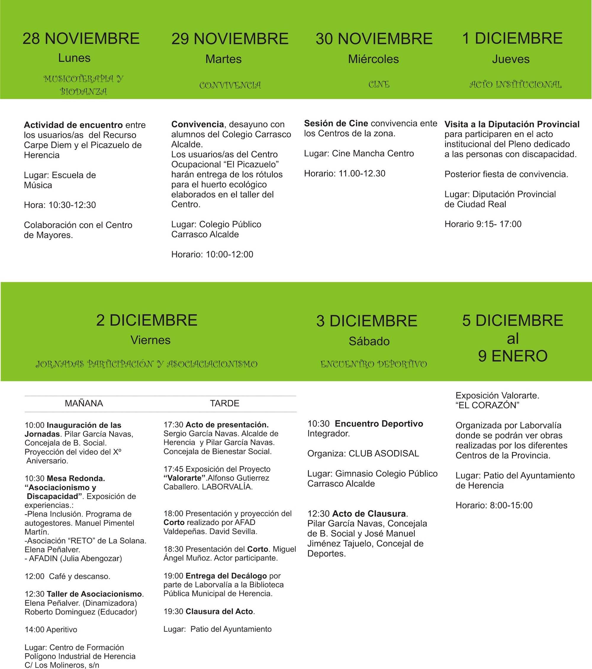 programa de jornadas sobre capacidades diferentes - Jornadas sobre capacidades diferentes 2016 en Herencia