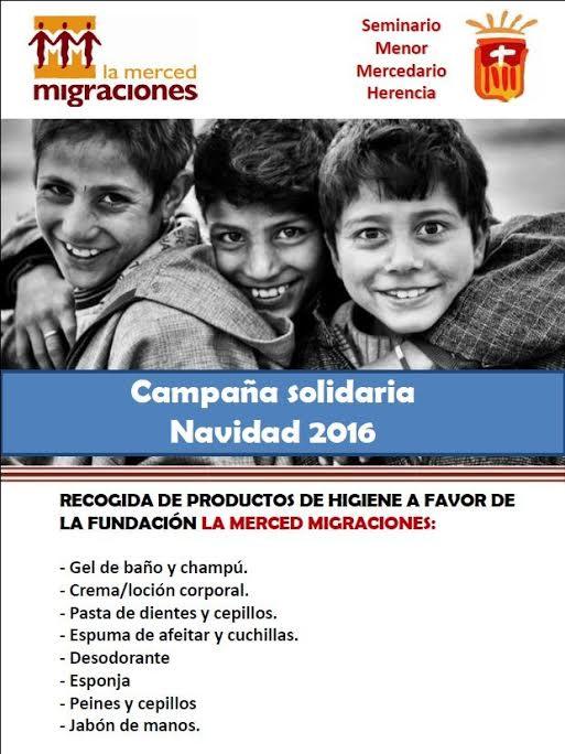 Recogida de productos de higiene colegio seminario menor mercedario fundacion la merced migraciones - Campaña solidaria a favor de la fundación La Merced Migraciones