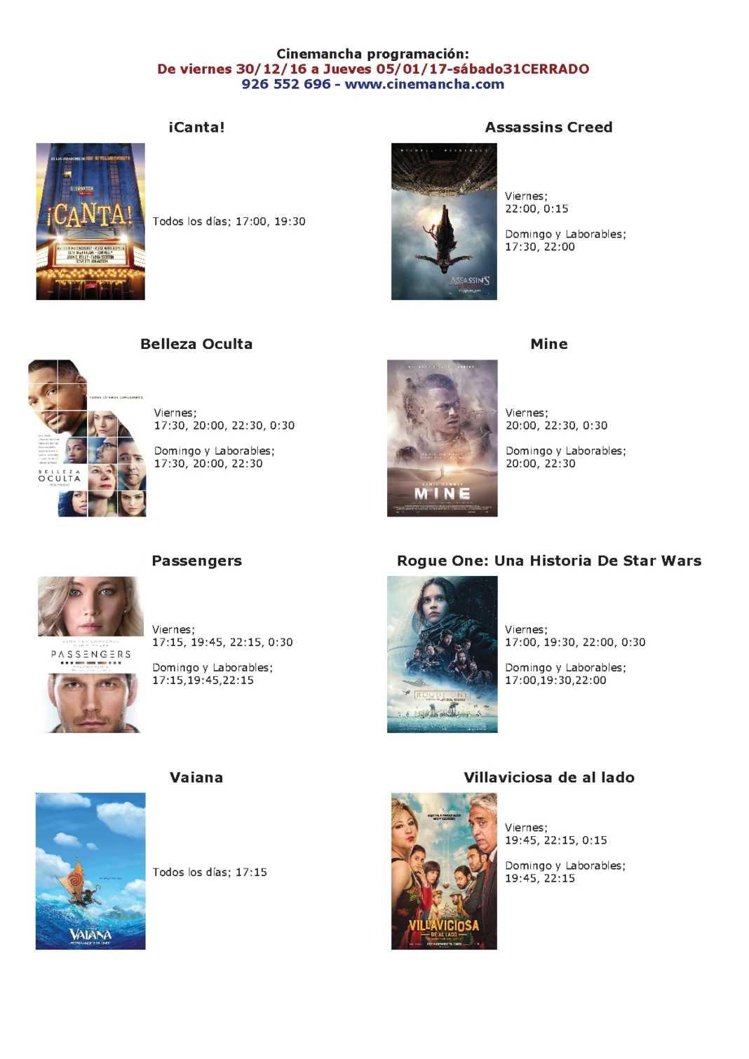 Cartelera Cinemancha, del 30 de diciembre al 05 de enero 1