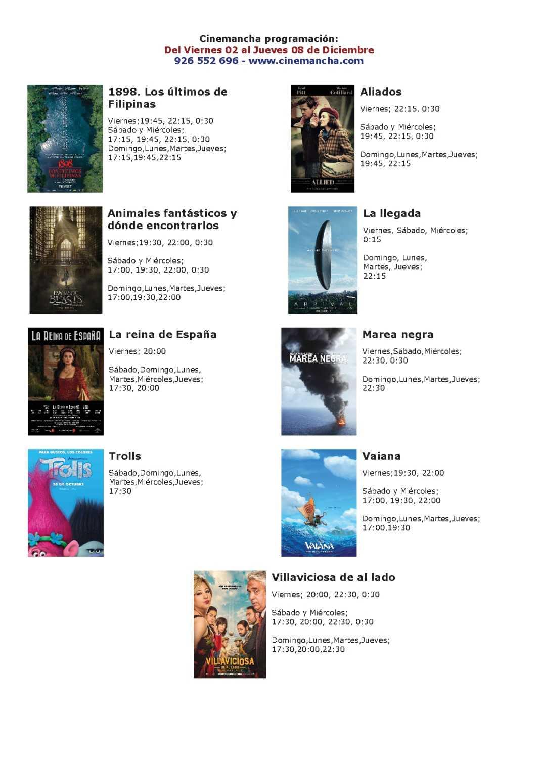Cartelera Cinemancha del 02 al 08 de diciembre 1