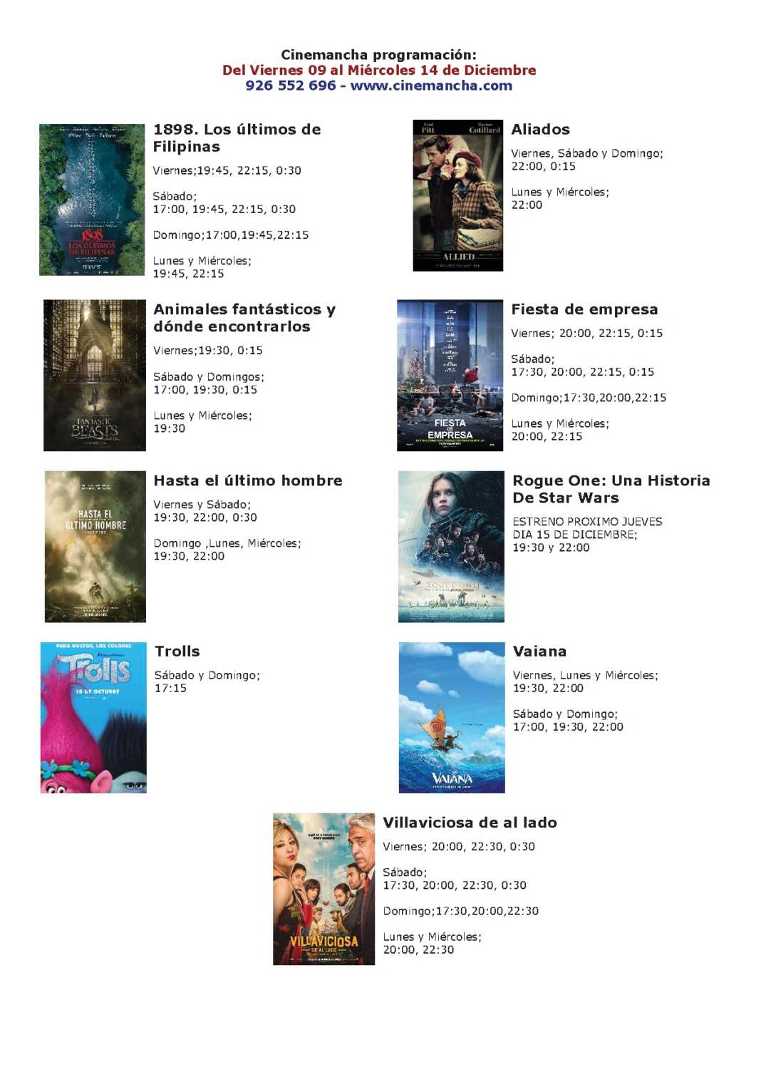 Cartelera Cinemancha hasta el MIÉRCOLES 14 de diciembre 1
