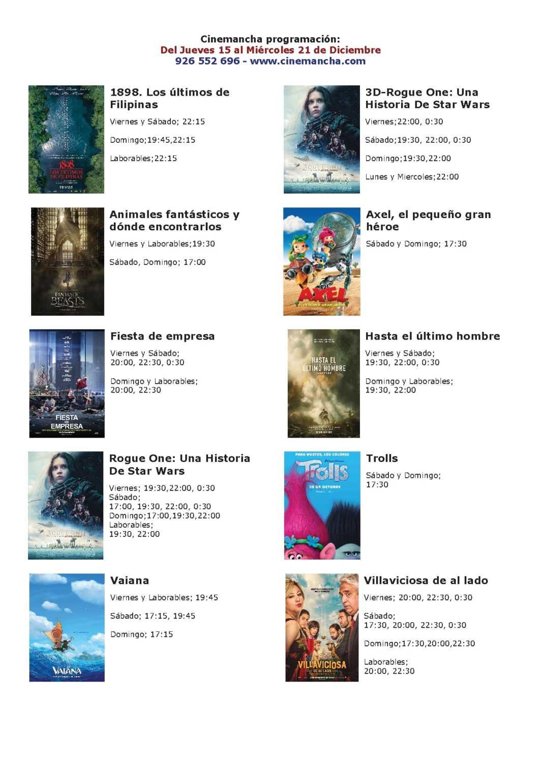 Cartelera Cinemancha del jueves 15 al miércoles 21 de diciembre 1